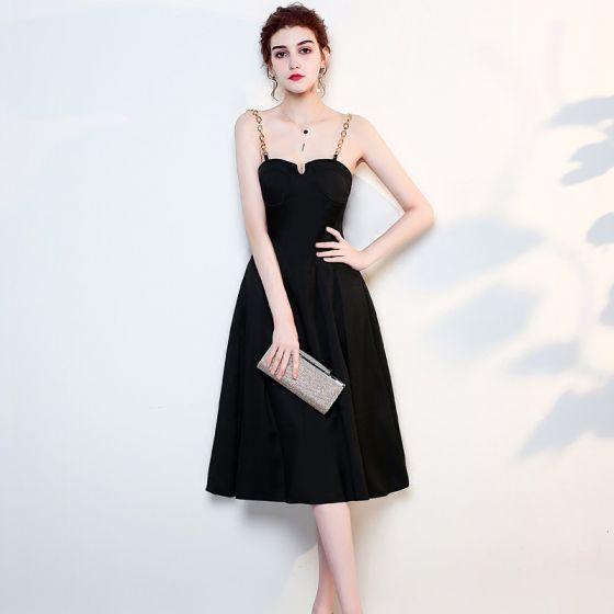 Modest / Simple Solid Color Black Evening Dresses  2019 A-Line / Princess Metal Spaghetti Straps Sleeveless Backless Knee-Length Formal Dresses