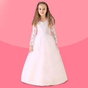 Weiß-blumenmädchenkleid Lange Schleppende Prinzessin Kleid Kommunionkleider