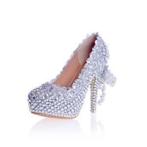 Charmant Argenté Faux Diamant Chaussure De Mariée 2020 Cuir Imperméables 12 cm Talons Aiguilles À Bout Pointu Mariage Escarpins