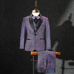 Amazing / Unique Grape Glitter Polyester Boys Wedding Suits 2019