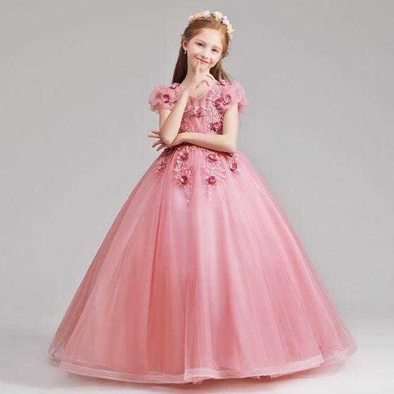 9aa7a8913 Elegantes Rosa Vestidos para niñas 2019 A-Line / Princess V-Cuello Hinchado  Manga Corta Apliques Con Encaje Flor Perla Largos Ruffle Vestidos para ...
