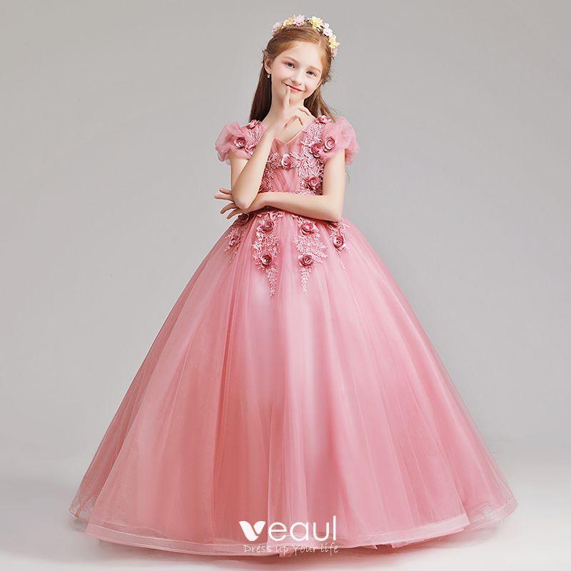 Elegantes Rosa Vestidos Para Niñas 2019 A Line Princess V Cuello Hinchado Manga Corta Apliques Con Encaje Flor Perla Largos Ruffle Vestidos Para