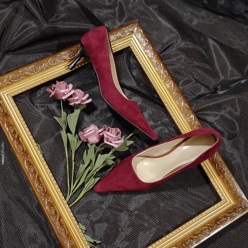 Chic / Beautiful Burgundy Evening Party Pumps 2020 Leather Suede 6 cm Stiletto Heels Pointed Toe Pumps