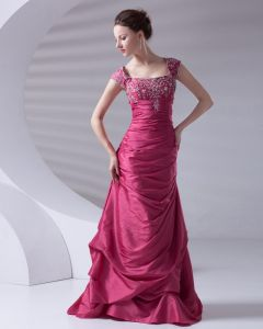 Mode Encolure Carree Longueur De Plancher Perles Ruffle Taffetas Robe De Bal