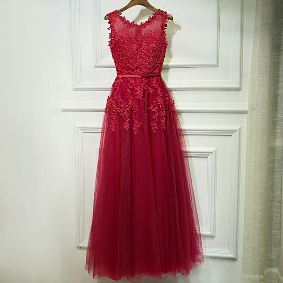 Chic / Belle Rouge Robe De Ceremonie 2017 Princesse Dentelle Fleur Perle Sans Manches Longue Robe De Soirée