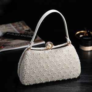 Chic / Beautiful Ivory Beading Pearl Clutch Bags 2019 Wedding Accessories