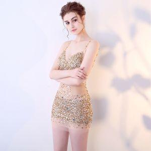 Sexy Champagne Transparentes Robe De Soirée 2018 Bretelles Spaghetti Sans Manches Faux Diamant Paillettes Perlage Courte Dos Nu Robe De Ceremonie