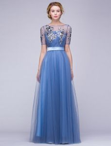 Piękne Suknie Wieczorowe 2016 A-linia Cekiny Kwadratowy Dekolt Aplikacja Koronki Atrament Niebieski Tiulu Długa Suknia Z Szarfą
