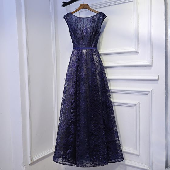 Chic / Beautiful Navy Blue Formal Dresses Prom Dresses 2017 Lace Flower Strappy Scoop Neck Short Sleeve Ankle Length A-Line / Princess