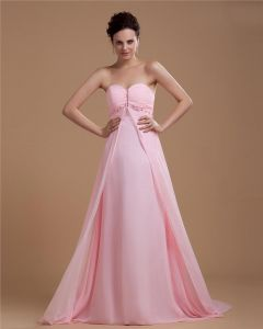 Sweetheart Chiffon Pleated Solid Floor Length Evening Dresses