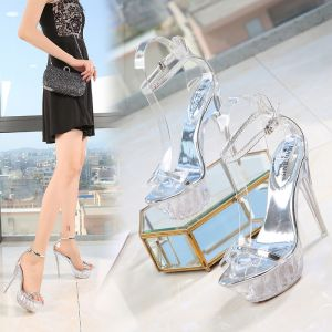 Transparent Sexy Silver Summer Cocktail Party Womens Sandals 2020 Ankle Strap 14 cm Stiletto Heels Open / Peep Toe Sandals