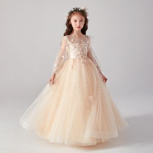 Victorian Style Champagne See-through Birthday Flower Girl Dresses 2020 Ball Gown Scoop Neck Puffy Long Sleeve Appliques Lace Star Sequins Floor-Length / Long Ruffle