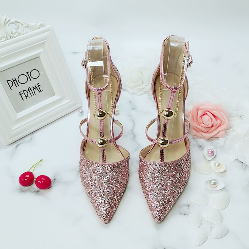 Chic / Beautiful Silver Wedding Shoes 2019 Sequins T-Strap 8 cm Stiletto Heels Pointed Toe Wedding High Heels