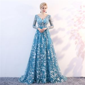 Elegant Pool Blue See-through Evening Dresses  2018 A-Line / Princess V-Neck Long Sleeve Appliques Lace Sweep Train Ruffle Backless Formal Dresses