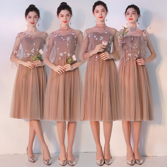 Elegant Khaki See-through Bridesmaid Dresses 2019 A-Line / Princess Appliques Lace Tea-length Ruffle Backless Wedding Party Dresses