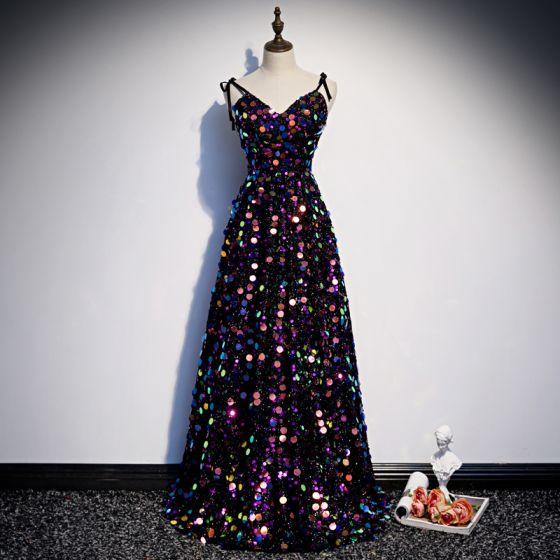 Glittrande Multi-Färger Paljetter Aftonklänningar 2020 Prinsessa Spaghettiband Ärmlös Långa Ruffle Halterneck Formella Klänningar