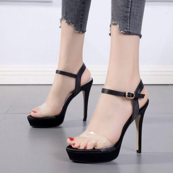 Schlicht Schwarz Strassenmode Sandalen Damen 2020 Knöchelriemen 12 cm Stilettos Peeptoes Sandaletten