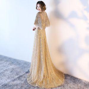 Glitzernden Festliche Kleider 2017 Abendkleider Glanz Gold Pailletten A Linie Sweep / Pinsel Zug Rundhalsausschnitt 1/2 Ärmel Satin Stoffgürtel