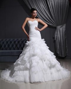 Sweetheart-Neck 2080Organza Satin Tulle Pleat Mermaid Wedding Dress