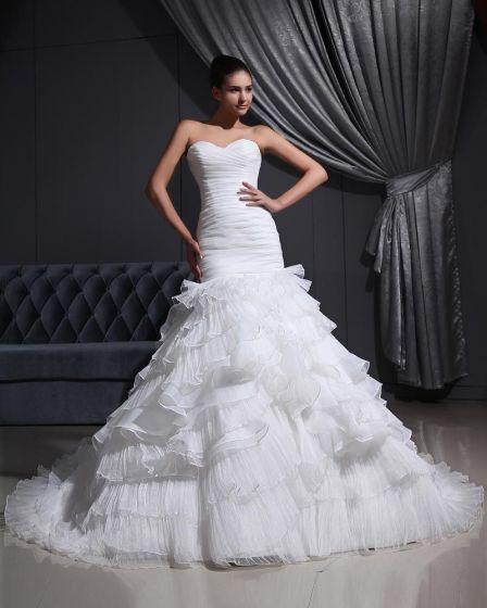 Sweetheart-Neck 2080Organza Satin Tulle Pleat Mermaid Wedding Dress