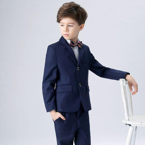 Proste / Simple W paski Krawat Królewski Niebieski Boys Wedding Suits 2018