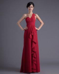 En Mousseline A Volants Etage Une Epaule Robe De Demoiselle D'honneur De Longueur Plisse De Mode