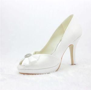 Belle Ivoire Chaussures De Mariée En Satin Peep Toe Talons Aiguilles De Escarpins À Bijoux Noeud