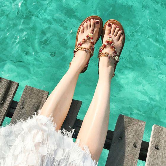 Bohemen Luxe Bruin Sandalen Dames Strand Tuin / Outdoor Peep Toe Zomer Kralen Kristal Rhinestone Platte Sandalen Damesschoenen 2019