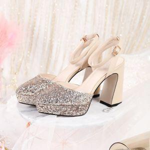 Hermoso Oro Rosa Zapatos de novia 2019 Correa Del Tobillo Lentejuelas 11 cm Talones Gruesos Punta Estrecha Boda High Heels