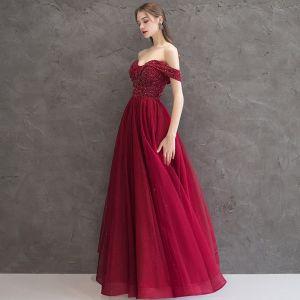 Elegant Burgundy Evening Dresses  2019 A-Line / Princess Off-The-Shoulder Short Sleeve Glitter Tulle Beading Floor-Length / Long Ruffle Backless Formal Dresses