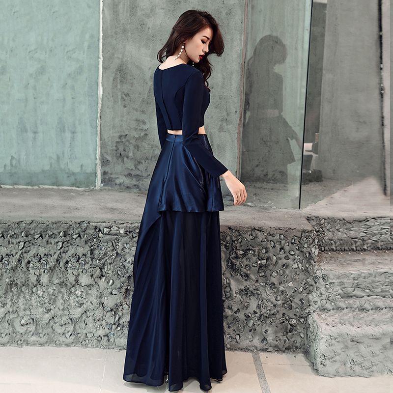 2 Piece Navy Blue Evening Dresses  2019 A-Line / Princess Scoop Neck Long Sleeve Floor-Length / Long Ruffle Formal Dresses