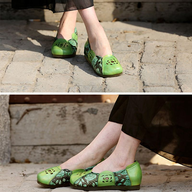 Chic / Beautiful 2017 Flat Brown Green Grey Casual Cocktail Party Evening Party Outdoor / Garden Leather Fall Spring Summer Winter Pierced Sandals Open / Peep Toe Womens Sandals