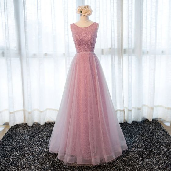 Chic / Beautiful Candy Pink Prom Dresses 2018 A-Line / Princess Bow Pearl Sash Scoop Neck Backless Sleeveless Floor-Length / Long Formal Dresses