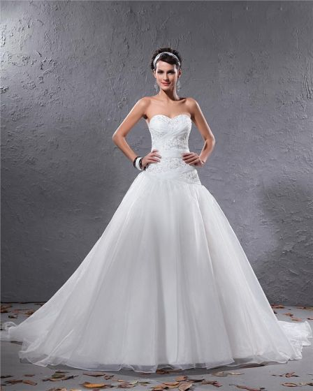 Elegant Organza Pleated Applique Beaded Sweetheart Floor Length Court Train Ball Gown Wedding Dress