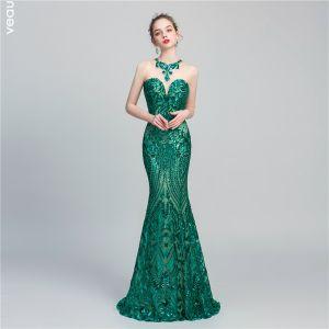 Schöne Dunkelgrün Pailletten Abendkleider 2020 Meerjungfrau Durchsichtige Rundhalsausschnitt Ärmellos Lange Rückenfreies Festliche Kleider
