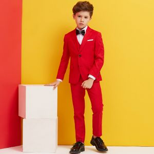 Simple Noire Cravate Rouge Boys Wedding Suits 2018