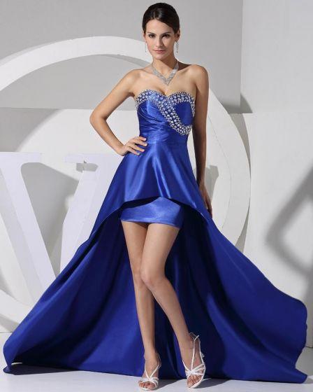 Stylish Solid Charmeuse Silk Sweetheart Beading Sleeveless Backless Asymmetrical Court Train Prom Dress