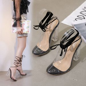 Sexy Transparent Black Rave Club Womens Sandals 2020 Ankle Strap 12 cm Thick Heels Pointed Toe Sandals