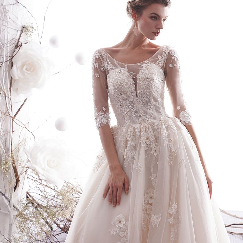 Elegant Champagne Wedding Dresses 2019 A-Line / Princess Scoop Neck Beading Lace Flower Appliques 1/2 Sleeves Backless Chapel Train