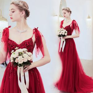 Chic / Beautiful Red Evening Dresses  2020 A-Line / Princess Spaghetti Straps Beading Lace Flower Sleeveless Backless Sweep Train Formal Dresses