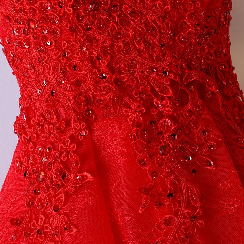 Chic / Beautiful Red Formal Dresses Prom Dresses 2017 Lace Flower Sequins Backless V-Neck Sleeveless Ball Gown Short