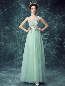 Reizvolles Lange Spitze Abendkleid Grünes Festliche Kleid Bördelte Kristall