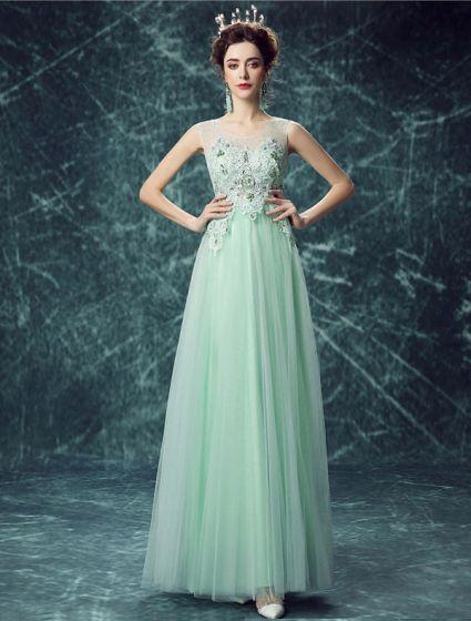 Reizvolles Lange Spitze Abendkleid Grünes Festliche Kleid Bördelte Kristall 7ff8e49026