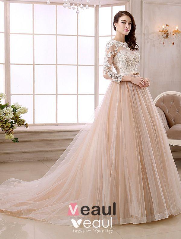 Vintage Wedding Dresses Bristol: Elegant A-line Lace Neck Pierced Design 3/4 Sleeves Sash