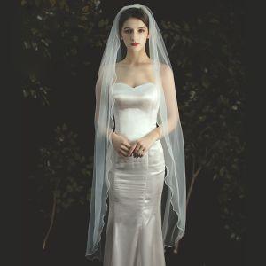 Enkel Ivory Brudeslør 2020 Te-længde Tulle Bryllup