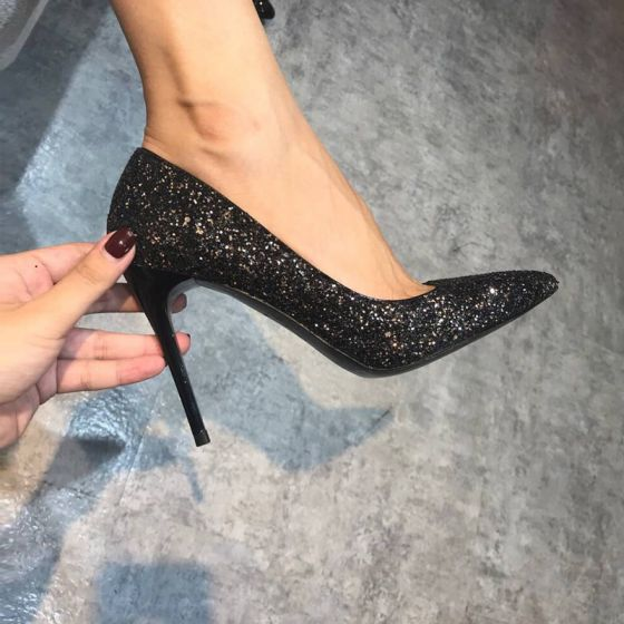 Sparkly Glitter Black Casual Evening Party High Heels 2021 Rave Club Pointed Toe Leather Stiletto Heels 10 cm / 4 inch Heels Pumps Womens Shoes