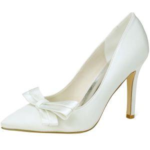 Elegant Ivory Prom Pumps 2020 Satin Bow 9 cm Stiletto Heels Pointed Toe Pumps