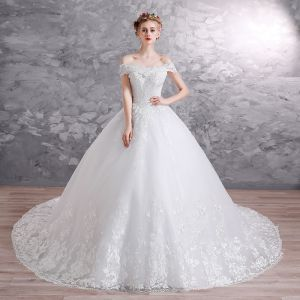 Elegant White Wedding Dresses 2019 A-Line / Princess Off-The-Shoulder Short Sleeve Backless Appliques Lace Sequins Pearl Beading Glitter Tulle Chapel Train Ruffle