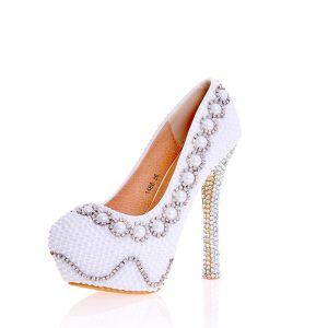 Sexy Ivoire Perle Faux Diamant Chaussure De Mariée 2020 Cuir Imperméables 14 cm Talons Aiguilles À Bout Rond Mariage Escarpins
