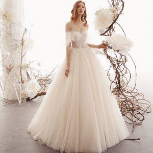Beste Champagner Durchsichtige Garten / Im Freien Brautkleider / Hochzeitskleider 2019 A Linie Herz-Ausschnitt Kurze Ärmel Rückenfreies Perlenstickerei Lange Rüschen